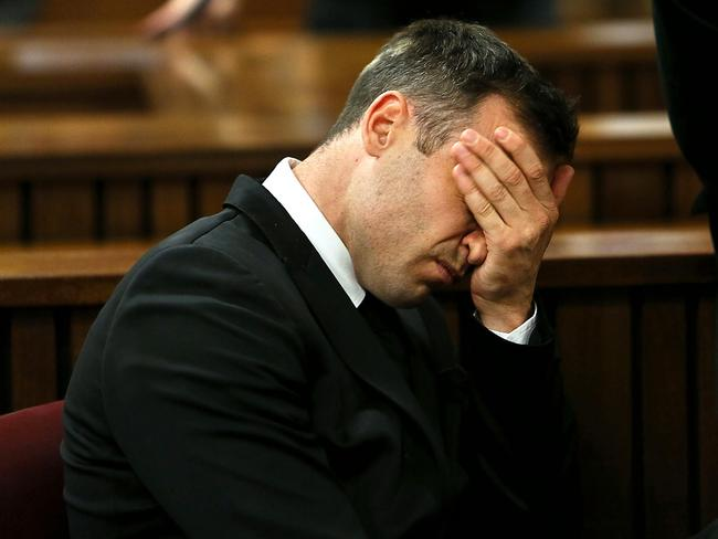 A(nother) hard day in court ... Oscar Pistorius reacts during his sentencing hearing. Picture: AFP PHOTO / Pool / Alon Skuy