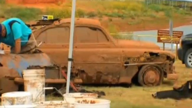 One of the cars pulled out of Foss Lake in Oklahoma after being submerged for more than 40 years.