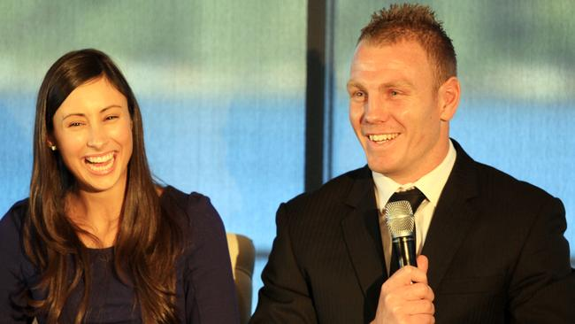 Luke Lewis with wife Sonia at an NRL Women's in League lunch.