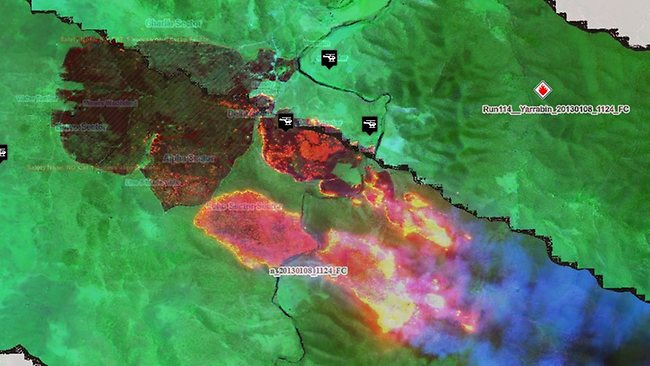 The NSWRFS posted this image on Facebook with this cpation: This image is just in from our Line Scan aircraft, showing the Yarrabin fire in the Cooma area. The red and yellow sections show the most intense part of the fire, burning quickly through grassland.