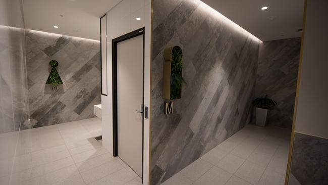 A look inside the sleek and stylish bathrooms.