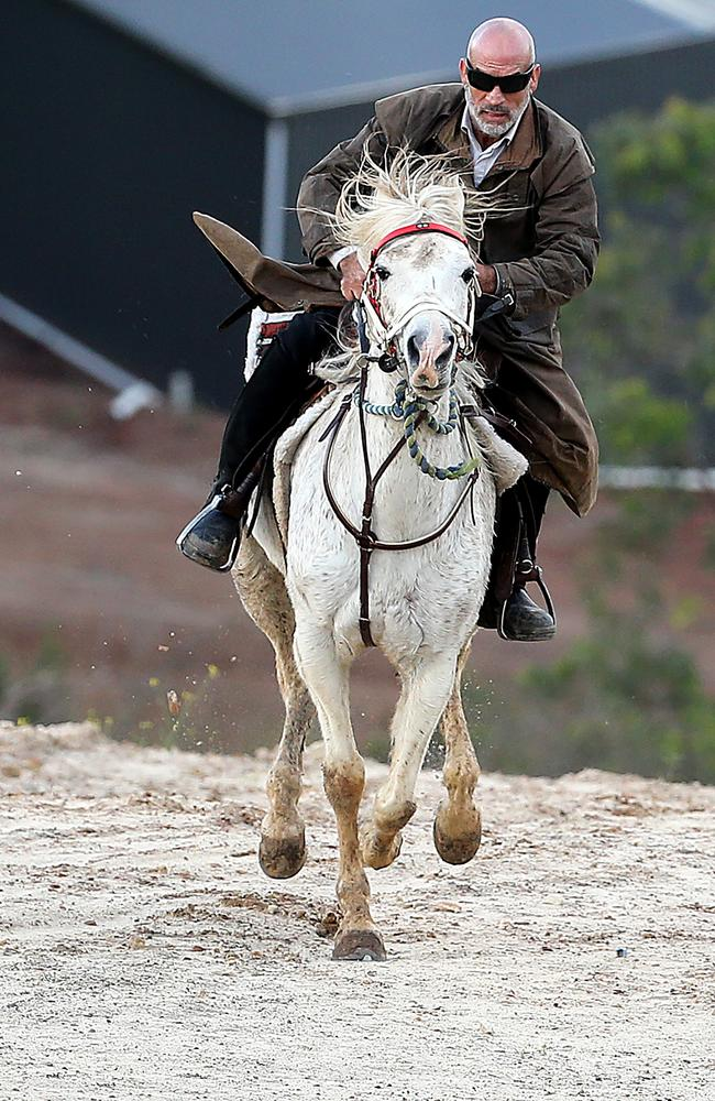Mamdouh Elomar rides his horse at his Denham Court home. Picture Craig Greenhill.