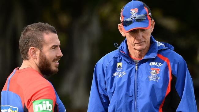 Wayne Bennett talks to Darius Boyd at Newcastle training. Pic: Peter Lorimer