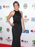 Katie Upton on the red carpet arriving at the 2014 Allan Border Medal held at Doltone House at Hyde Park. Picture: Richard Dobson