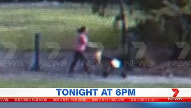 Sofina Nikat is seen leaving Olympic Park, Heidelberg West, with an empty pram. Picture: Channel 7