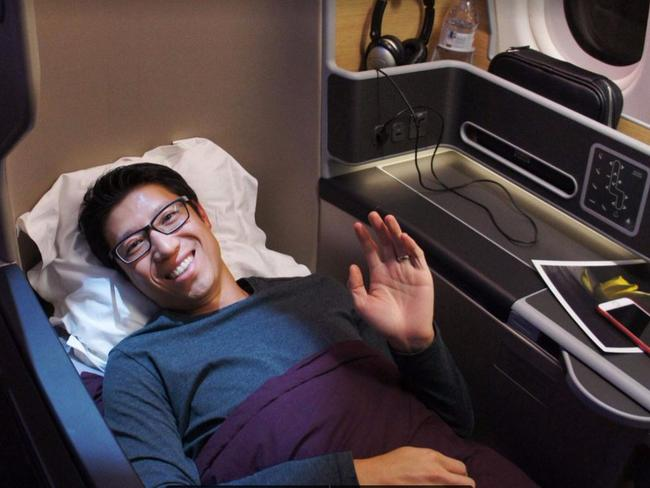 Steve Hui (pictured) had to tell a friend that if he was more clever in spending his points, he could have flown like this for a lot less. Picture: Steve Hui