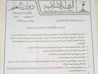 Edict ... a decree on education issued by the Islamic State four days ago. Source: Supplied