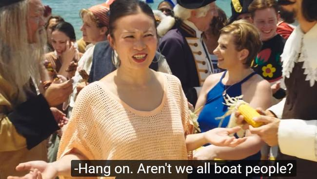 'Aren't we all boat people?', Poh Ling Yeow asks, to cheers from the lamb ad revellers. Picture: Supplied