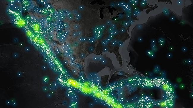 Amazing map shows a century of earthquakes mapped at a glance waiting for the big one san francisco and los angeles sit on californias san andreas fault the tectonic boundary between the pacific and north american gumiabroncs Images