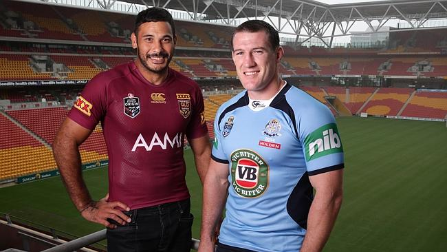 Justin Hodges and Paul Gallen at Suncorp Stadium to promote the 100th game of Origin.