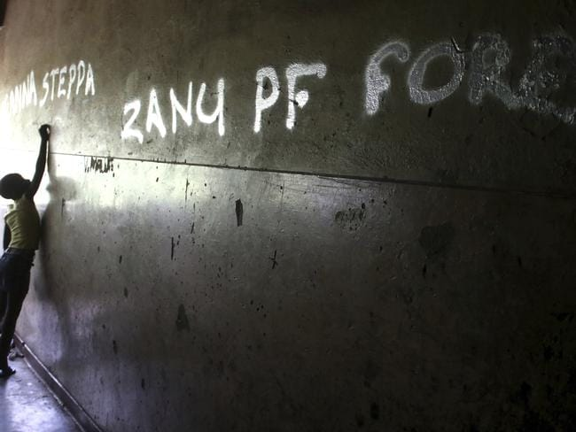 Graffiti in support of the ruling ZANU PF party is pictured on a building in Harare. Picture: AP