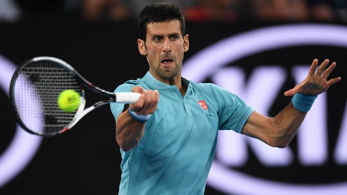 Novak Djokovic of Serbia in action against Fernando Verdasco of Spain on Rod Laver Arena during round 1 of the Mens Singles on day two of the Australian Open, in Melbourne, Australia, Tuesday, Jan. 17, 2017. (AAP Image/Dean Lewins) NO ARCHIVING, EDITORIAL USE ONLY