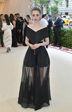 Lily Collins attends the Heavenly Bodies: Fashion and The Catholic Imagination Costume Institute Gala at The Metropolitan Museum of Art on May 7, 2018 in New York City. Picture: Getty