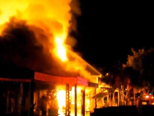 Nimbin fire. Source: Facebook/Lismore Radio video