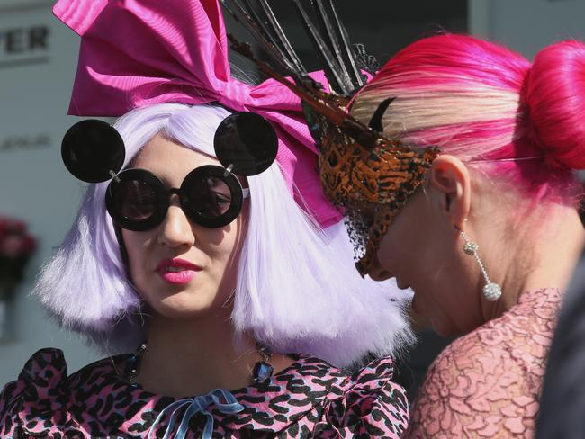 Fashions on the field entrants on Melbourne Cup Day at Flemington Racecourse, Tuesday, Nov 3, 2015. Picture: AAP Image/David Crosling
