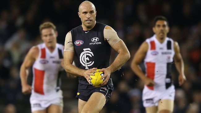 Leader ... Chris Judd produced a big performance against St Kilda.