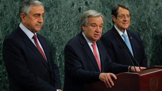 UN Secretary-General Antonio Guterres beside Greek Cypriot leader Nicos Anastasiades and Turkish Cypriot leader Mustafa Akinci at UN headquarters in New York. Picture: Kena Betancur