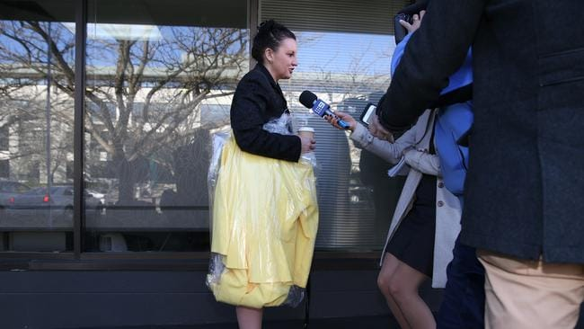 Jacqui Lambie at the PUP headquarters for this morning's daily brief. Picture: Gary Ramage