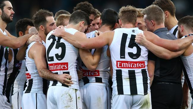 Nathan Buckley with his players. Picture: Getty Images