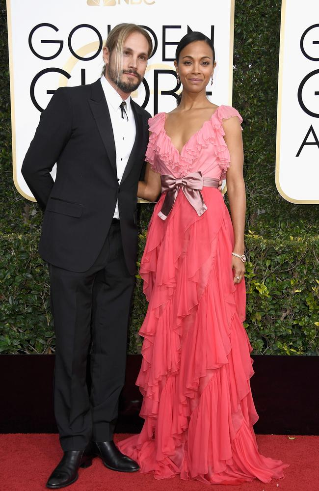 Zoe Saldana and Marco Perego. Picture: Frazer Harrison/Getty Images/AFP