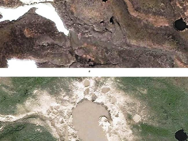 Methane eruptions ... Before and after satellite photographs show how blowholes have created a new lake in Siberia. Source: Siberian Times