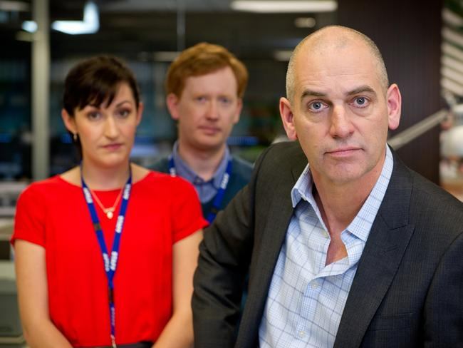 Celia Pacquola, Luke Mitchell and Rob Sitch in  <i>Utopia</i>. Picture: Supplied