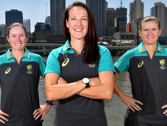 ABeth Mooney (left), Megan Schutt and Jess Jonassen (right) are all likely to play in Sunday's opener. Pic: AAP