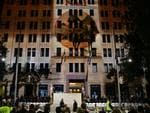 Anzac Day 2014 Dawn Service, Martin Place, Sydney. Crowds gathered from 3am to be a part of the Dawn Service for 2014. Thousands attended is what was perfect weather. Projections were seen on surrounding buildings. Pics Bill Hearne