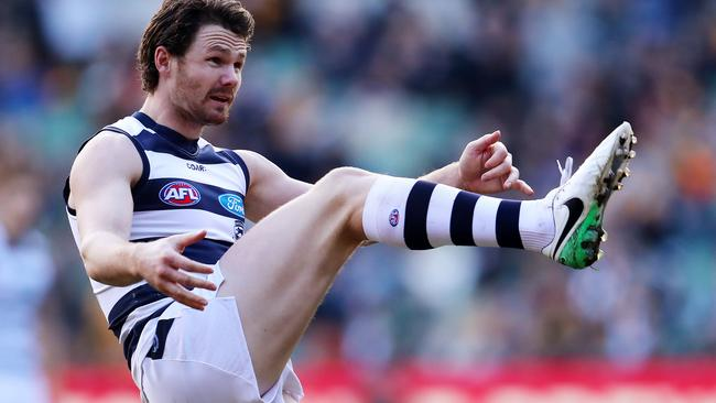 Patrick Dangerfield dominated as a forward against Hawthorn. Picture: Michael Klein