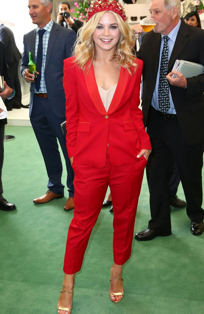 Emma Freedman went for a suit over a dress at the Melbourne Cup. Picture: Scott Barbour/Getty Images.