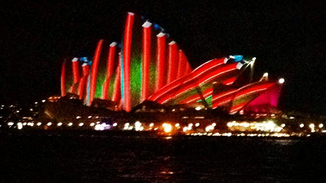 Stunning lights projected onto the Opera House on the Vivid Festival opening night.