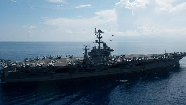 The USS John C. Stennis, pictured in the South China Sea. Hopefully it won't be needed in a conflict against North Korea. Pic: AFP