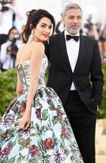 Amal Clooney and George Clooney attend the Heavenly Bodies: Fashion and The Catholic Imagination Costume Institute Gala at The Metropolitan Museum of Art on May 7, 2018 in New York City. Picture: Getty