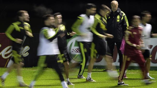 Spain head coach Vicente del Bosque watches on as his players go through a drill at training.