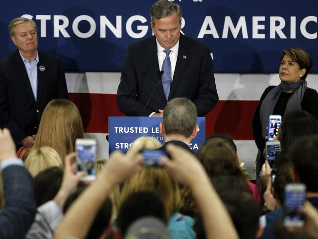 Dwindling polls ... Republican presidential candidate, former Florida Gov. Jeb Bush, accompanied by his wife Columba, speaks at his South Carolina Republican presidential primary rally. Bush says he is ending his bid for the White House. Picture: AP Photo/Matt Rourke