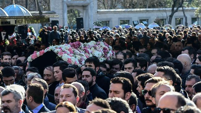 Relatives carry the coffin of Mina Basaran. Picture: AFP PHOTO / YASIN AKGUL