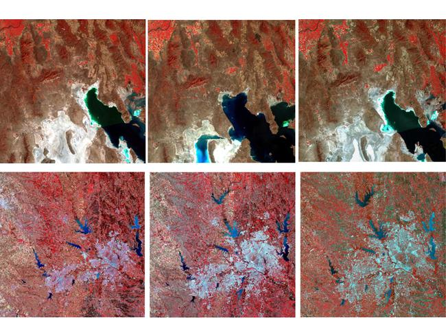 Landsat images: the fluctuations of Utah's Great Salt Lake over 30 years (top), the explosive growth of Dallas-Fort Worth (bottom). Pictures: USGS