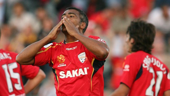 In this file picture, Brazilian legend Romario acknowledges the crowd after finally scoring for Adelaide United. Picture: Cameron Richardson.
