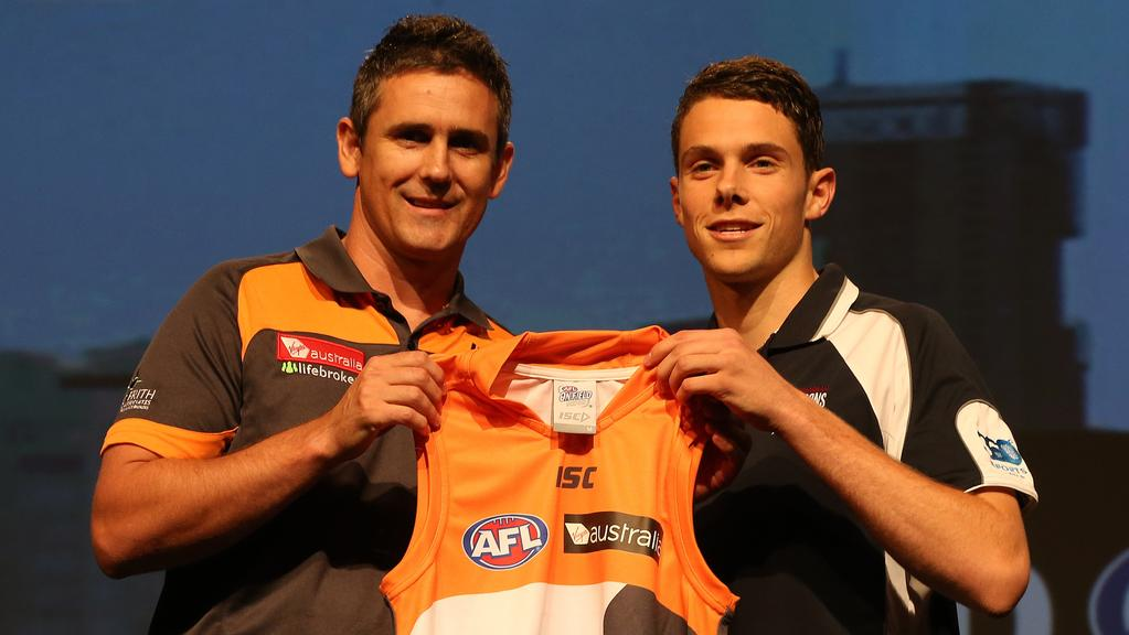 AFL Draft,Picture Wayne Ludbey.Leon Cameron and Josh Kelly,
