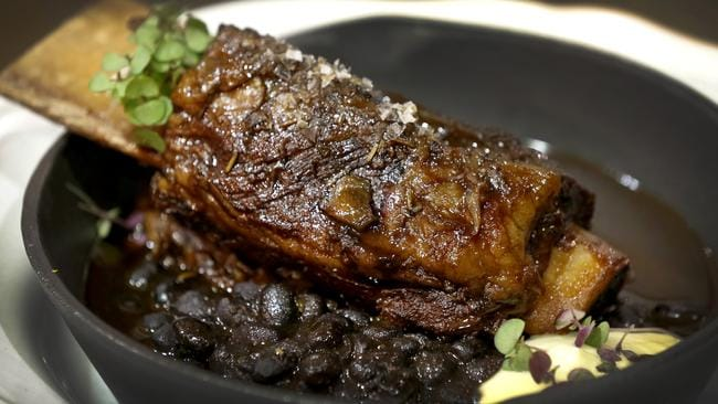 Provence's main of beef short rib with Provençal black beans and truffle turnip.