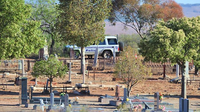 Police investigating the double murder of two young woman today cordoned off the Quorn cemetery. Picture: Mark Brake