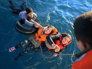 Turkish coast guard rescues refugees in Turkey's Aydin