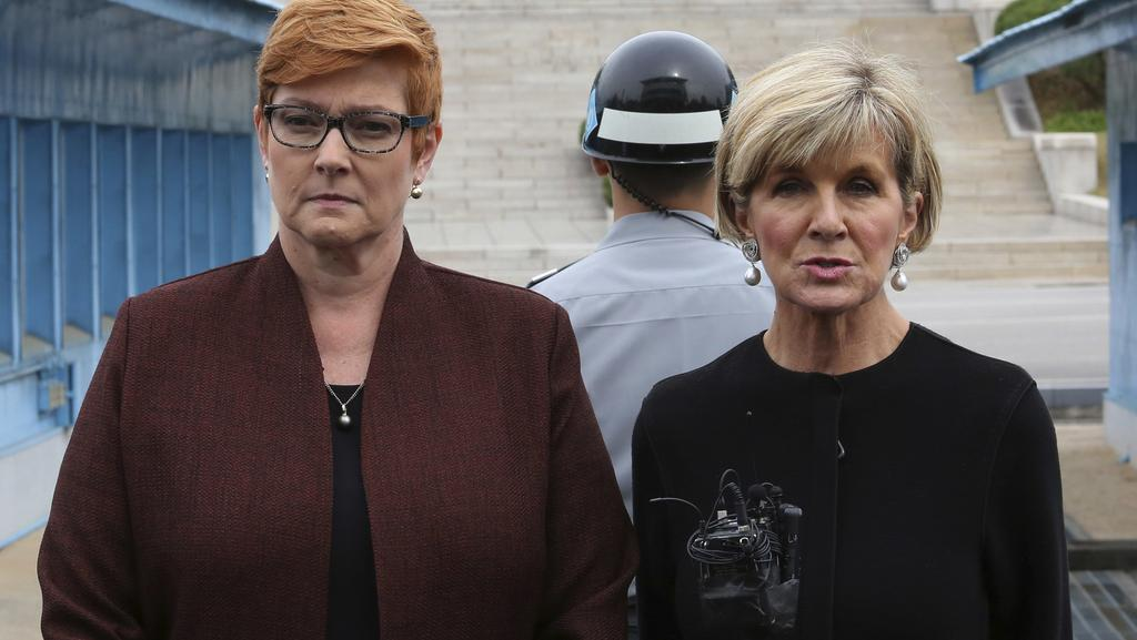 Australian Foreign Minister Julie Bishop, right, speaks as Defence Minister Marise Payne listens during their press conference at the border village of Panmunjom in Paju, South Korea. Picture: AP