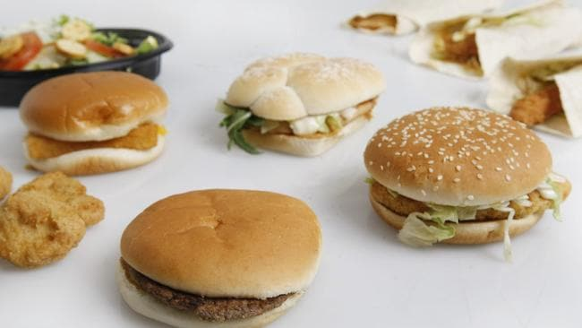 A variety of McDonald's burgers, wraps, nuggets, salad and bottled water with the Fillet-o-Fish and the McChicken packaging carries the National Heart Foundation's Health Tick.