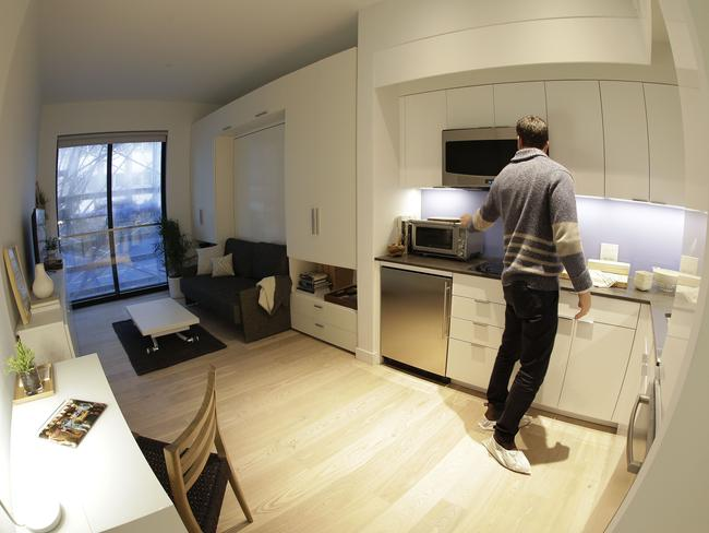 "As the city-sponsored ""micro-apartment"" project nears completion, it's setting an example for tiny dwellings that the nation's biggest city sees as an aid to easing its affordable housing crunch. Picture: Julie Jacobson"