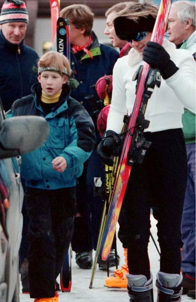 Tara Palmer-Tomkinson seen on a skiiing trip with Prince Harry in 1996. Picture: Rex/australscope
