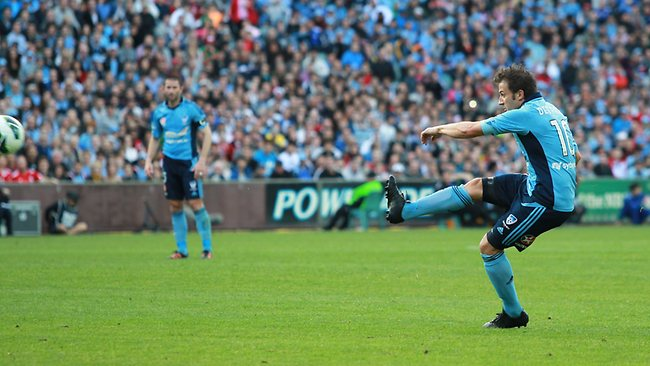 Alessandro Del Piero scores his first goal for Sydney FC. Picture: Mark Evans
