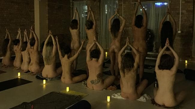 The ladies at the nude yoga class literally and figuratively bared all. Photo: Stacey June.