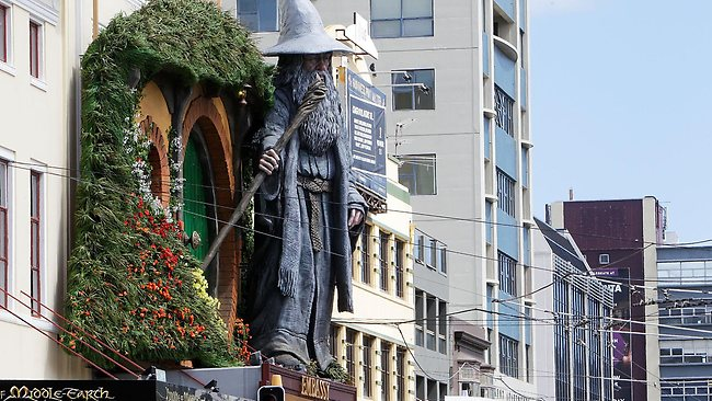 A giant Gandalf statue looks over Kent Terrace in Wellington. Picture: Getty Images