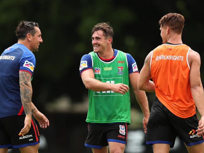 Mitchell Pearce, Connor Watson and Kalyn Ponga during Knights training. Picture: Brett Costello